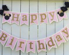 Rosa de banner de cumpleaños de rosa y oro y por MerryMakersPapier