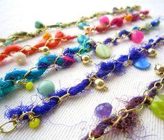 Sari Yarn Charm Bracelet. $18.00, via Etsy.