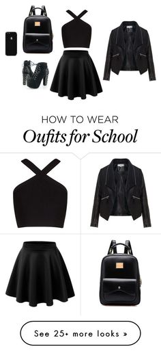 """the school"" by dreaminblack on Polyvore featuring LE3NO, BCBGMAXAZRIA and Zizzi"