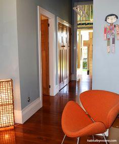 *Resene Jungle Mist and Resene White Interior Paint Colors, Paint Colours, Bungalow Interiors, Timber Door, High Ceilings, Concrete Floors, Colour Schemes, Hallways