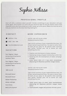 SOPHIE NELISSE Professional Clear Resume Template for Word Instant Download CV Template Elegant Design T...
