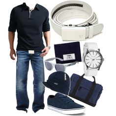 """Alpine White Belt - Navy Blue & White"" by kristinmadsen on Polyvore"