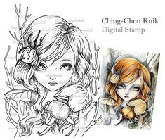 Beetles And Girl - Digital Stamp Instant Download / Insect Beetle Fantasy Art by Ching-Chou Kuik