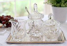 vintage crystal jam pot, creamer and sugar bowl #vintage #crystal #tea