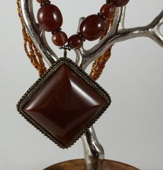 Vintage Chunky Brown Lucite Beaded Pendant by PinkBeachMonkey