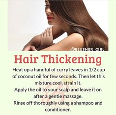 Long thick hair with kadi pata aka curry leaves Radiate the glow within ❤ Credits: Thick Natural Hair, Natural Hair Care Tips, Natural Beauty Tips, Health And Beauty Tips, Thick Hair, Hair Remedies For Growth, Skin Care Remedies, Hair Growth, Beauty Tips For Glowing Skin