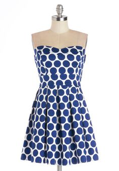 Bubbly Double Take Dress - Blue, White, Polka Dots, Pleats, Daytime Party, A-line, Strapless, Good, Sweetheart, Cotton, Woven, Mid-length