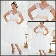 Wholesale Cocktail Dress - Buy 2014 Cheap Plus Size Sheer Garden A-line V Neck Wedding Dresses Tulle Stain Lace Tea Length Bridal Dress/Wedding Gowns, $69.1   DHgate