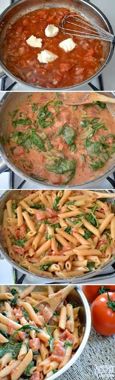 Healthy Recipe / Creamy Tomato Spinach Pasta this is a delicious recipe. I make just the sauce sometimes eat it over chicken or just plain! Think Food, I Love Food, Food For Thought, Good Food, Yummy Food, Tasty, Vegetarian Recipes, Cooking Recipes, Healthy Recipes