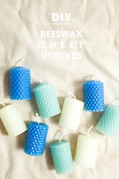 Make your own candles! Beeswax Sheet Votive Candles by Jen Carreiro Beeswax Candles, Votive Candles, Diy Presents, Diy Gifts, Diy Projects To Try, Craft Projects, Craft Ideas, Diy Cadeau, Do It Yourself Inspiration