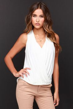 d192364f48d Start with a clean slate like the Twist and Make Up Ivory Tank Top to pair