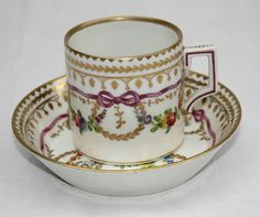 MAGNIFICENT 19C ROYAL VIENNA HAND PAINTED CUP & SAUCER