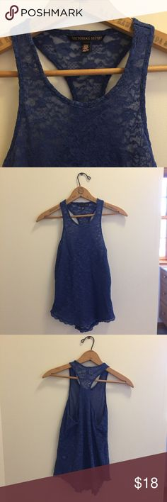 Victoria's Secret Lace Tank This Victoria's Secret lace tank is...                         -size XS -indigo/dark blue color -in excellent condition! -no holes, rips, stains -perfect for lounging or going out  -comes from a smoke free, pet free home Victoria's Secret Tops Tank Tops