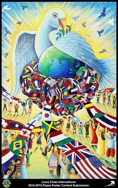 Lions Clubs International Peace Poster Competition submission from Trang Lions Club in Thailand Poster Competition, Drawing Competition, Lions Clubs International, Peace Poster, Unity In Diversity, Age Of Aquarius, We Are The World, World Peace, Poster Making