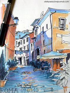 36 Ideas House Drawing Sketches Urban Sketchers For 2019 Landscape Drawing Easy, Watercolor Landscape, Landscape Paintings, Scenery Paintings, Art Alevel, Drawing Sketches, Sketch Art, Doodle Drawings, Art Sketchbook