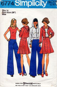 HALF PRICE 1970s Hooded Jacket Top Skirt And Pants Pattern Simplicity 6774 Vintage Sewing