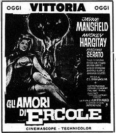 """""""Gli amori di Ercole"""" (1960) di Carlo Ludovico Bragaglia, con Jayne Mansfield e Mickey Hargitay. Italian release: January 12, 1961 #MoviePosters #Hercules"""