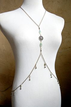 Aqua Exotica - Amazonite Gemstone, Shell Bead and Bell Adorned Body Chain by ChainsExoticaDE, $48.00  Perfect for bellydance or festival attire!  Lots of lush, exotic detail in this piece. <3 My personal favorite! :)