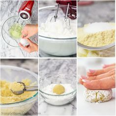 egg whites in bowl, meringue in a bowl, cookie dough in s cookie scoop Italian Almond Cookies, Almond Pastry, Italian Cookie Recipes, Almond Flour, Amaretti Cookie Recipe, Amaretti Cookies, Sugar Cookies Recipe, Amaretti Biscuits, Gluten Free Treats