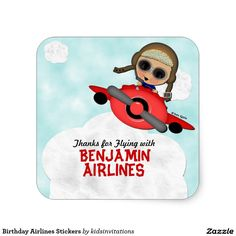 Shop Birthday Airlines Stickers created by kidsinvitations. Airplane Gifts, Airplane Baby Shower, Stickers Online, Childrens Party, Party Printables, Sticker Design, Holiday Fun, Custom Stickers, Party Themes