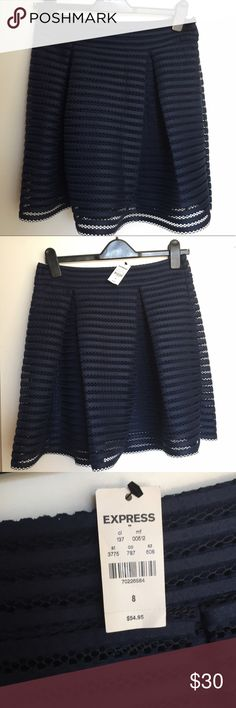 🆕Express Navy High Waisted Full Pleated Skirt NWT Vintage glam with a modern touch. A party skirt in classic navy, this high-rise, mesh-striped mini has a flared silhouette that's asking for a fitted or cropped top and playful, platform heels. Size 8- Never worn ⭐️ Bundle with other size 8 skirt in my closet to get a discount and save on shipping! ⭐️  * High banded waist, hidden side zipper * Pleated in front and back * Striped 3D mesh outer layer; Fully lined * Flared skirt * Polyester…