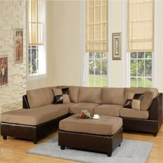 Mocha Two Piece Sectional with Free Ottoman