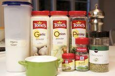DIY Italian salad dressing- Dry Mix-1T garlic powder,1 T onion powder, 1T sugar, 2 t oregano, 1 t pepper, 1/4 t thyme, 1 t basil, 1 T parsley, 1 T salt: Italian dressing-1/4 c white vinegar, 2/3 c olive oil and 1 T dry mix