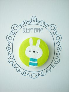 Sleepy Bunny Brooch/ Pin