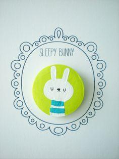 Sleepy Bunny Brooch/ Pin