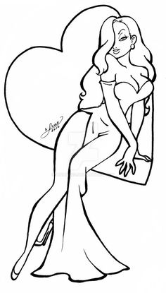 Cartoon Drawing Ideas Jessica Rabbit coloring pages Pin Up Drawings, Art Drawings Sketches, Cartoon Drawings, Colouring Pages, Adult Coloring Pages, Coloring Books, Free Coloring, Girl Cartoon, Cartoon Art