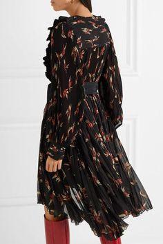 Isabel Marant - Wesley Ruffled Floral-print Plissé-chiffon Midi Dress - Black