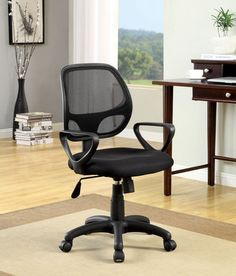 Furniture of America Tasker Contemporary Mesh Office Chair (Black) High Back Office Chair, Mesh Office Chair, Home Office Chairs, Home Office Decor, Home Decor, Adjustable Office Chair, Curved Lines, Black Mesh, Seat Cushions