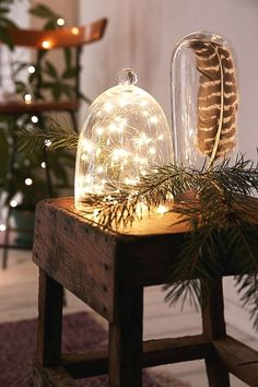 Transparent Cloche with Christmas lights inside