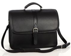 Briefcase with laptop computer case - Black - In stock - Front View