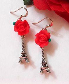 Eiffel tower dangle earrings Red rose flower by ThomiGirlPink