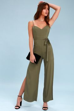Style; Wide Leg Jumpsuit Romper Medium Belted Tan Brown Khaki Fashionable In