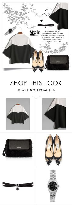 """""""Cuffed T-Shirt"""" by nabilazfr ❤ liked on Polyvore featuring Karen Millen, Jimmy Choo, Fallon and Rolex"""