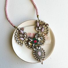Lovely rope statement necklace Blush and Emerald cute necklace , truly stunning piece in person! Hwl boutique Jewelry Necklaces