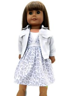 American Girl Doll Clothes Grey Animal Print Cotton by 18Boutique
