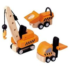 Plan Toys Wooden Construction Vehicles (Crane, forklift and dumper) For 3+ years #FOLLOWITFINDIT #toys
