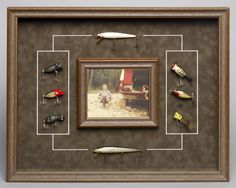 Frame a photo of Dad at his favourite fishing spot along with some of his vintage lures to create a special and unique Father's Day gift!