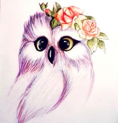 Owl with roses