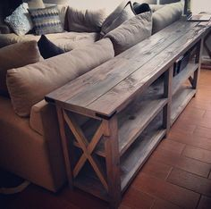 DIY sofa table This is an Ana White Design. It could work out well if it was modified as a long narrow counter in the basement.