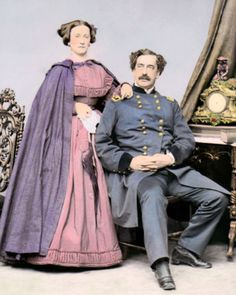 """MAJOR GENERAL ABNER DOUBLEDAY & MARY 8x10"""" HAND COLOR TINTED CIVIL WAR PHOTO"""