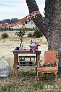 Outdoor Party from Country Style Magazine...fancy rustic picnic perfectly styled