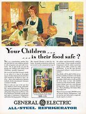 1920's BIG Vintage GE General Electric Refrigerator Retro Kitchen Art Print AD