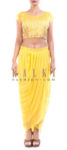 Buy Online from the link below. We ship worldwide (Free Shipping over US$100) Price- $129 Click Anywhere to Tag http://www.kalkifashion.com/yellow-crop-top-with-dhoti-pants.html