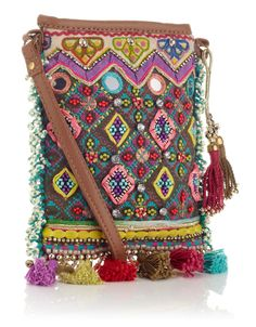 Festival Charm Mini X Body    £19.00  Cute mini heavily embellished cross body bag with mirror work, diamond beading and tassel base. Zip fastening with tan PU trims and double tassel strap charm.