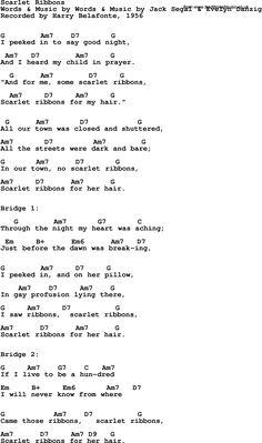 Song Lyrics with guitar chords for Scarlet Ribbons - Harry Belafonte, 1956 Pop Song Lyrics, Lyrics And Chords, Pop Songs, Easy Ukulele Songs, Ukulele Chords, Harry Belafonte, Song Words, Me Me Me Song, Music Stuff