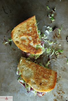 Brussels sprouts grilled cheese sandwich by Heather Christo. Vegetarian Recipes, Cooking Recipes, Vegetarian Dinners, Burger Recipes, Grilled Cheese Recipes, Grilled Cheeses, Great Recipes, Favorite Recipes, Wrap Sandwiches